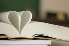 Closed heart shape from the book. Abstract book in heart shape, wisdom and education concept, world book and copyright day stock photos