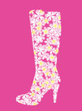 Abstract boots with flowers. Royalty Free Stock Images