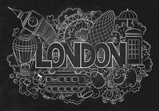 Abstract bord als achtergrond met hand getrokken teksten Londen Hand het van letters voorzien Malplaatje voor reclame, prentbrief Stock Fotografie