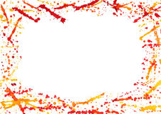 Abstract border with colorful watercolor splashes. Isolated on white stock illustration