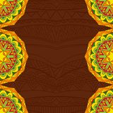 Mexican fiesta style background in bright colors. Abstract borders with festive ethnic pattern. Colorful tribal ornament. Copy space. Card, invitation or poster Stock Photos