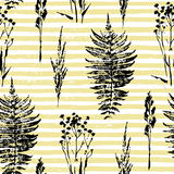 Abstract botanical seamless pattern. Vector herbal background. Stock Photo