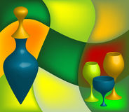 Abstract bottle and glasses. Abstract background with colored bottle and various glasses Royalty Free Stock Photos