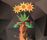 Abstract bouquet in vase - polygon graphics Royalty Free Stock Images