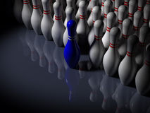 Abstract - Bowling Pins - The Frontrunner. Bowling Pins - The Frontrunner - 3D Stock Photo
