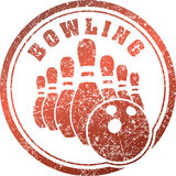 Abstract bowling rubber stamp grunge design in red tones. Royalty Free Stock Images