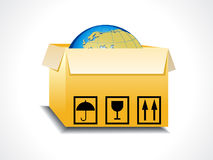 Abstract box icon with globe Stock Photo