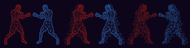 Abstract boxers fighting against each other stock image