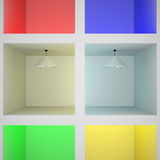 Abstract boxes with lamps Stock Images