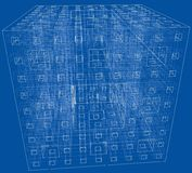 Abstract boxes outlined vector rendering of 3d Stock Photo