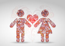 Abstract boy and girl. In love Royalty Free Stock Photo