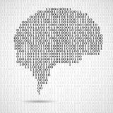 Abstract brain with binary computer code Royalty Free Stock Photography