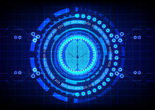 Abstract brain with circle technology concept design background. vector illustration