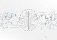 Abstract brain with circuit board concept background. Abstract Brain Security Technology.illustration vector design stock illustration