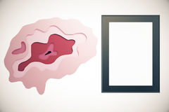 Abstract brain and frame. Abstract brain and empty picture frame on light background. Brainstorming concept. Mock up, 3D Rendering Royalty Free Stock Image