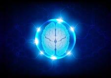 Abstract brain future technology concept background, ill stock illustration