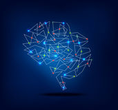 Abstract brain graphic with trace and spot lights activity Royalty Free Stock Photos