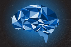 Abstract of brain graphic using polygon and geometry shape. Royalty Free Stock Photo
