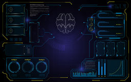 Abstract brain HUD interface UI design technology telecommunication innovation concept template background. Eps 10 vector Stock Illustration