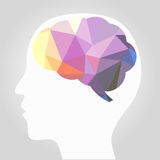 Abstract brain. With human head vector Stock Photos