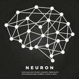 Abstract brain neural network poster design. Abstract line brain neural network chalkboard poster design. Vector illustration Royalty Free Stock Photo