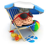 Abstract brain relax. Beach bed and abstract brain rest. 3d illustration royalty free illustration