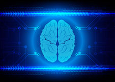 Abstract brain Technology with circuit and arrow background. Illustration Stock Photos