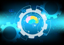 Abstract brain wave concept on blue background technology Stock Image