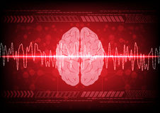 Abstract brain wave concept on blue background technology. illus Stock Images