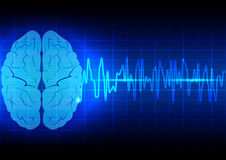 Abstract brain wave concept  on blue background technology Stock Photography