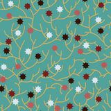 Abstract branch lines with stars. Seamless pattern Stock Image