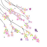 Abstract branches with flowers. 2d Royalty Free Stock Image