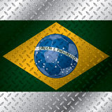 Abstract brasil flag on metallic plate Royalty Free Stock Photos