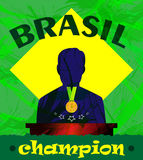 Abstract Brazil champion design with a man silhouette and first place medal. Digital vector image Royalty Free Stock Image