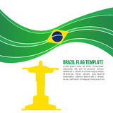 Abstract Brazil flag wave and Christ the Redeemer Temple Royalty Free Stock Photos