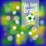 Abstract Brazilian football background,. Abstract background in Brazilian colors with bokeh lights, football design,  illustration Royalty Free Stock Images