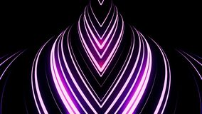 Abstract breathtaking motion of many neon sttripes on black background, seamless loop. Animation. Pink crossed lines stock illustration