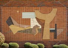 Free Abstract Brick Relief On The Outside Wall Of A Building At The Texas Woman`s University In Denton. Royalty Free Stock Image - 214146416