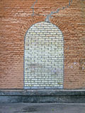 Abstract brick stone window on the stone wall, Royalty Free Stock Photography