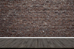 Abstract brick wall and wood floor in room for artwork. Interior design or montage display your product Royalty Free Stock Photo