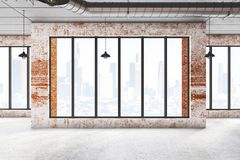 Abstract brick interiro with city view. Abstract brick warehouse interior with windows, city view and lamps. 3D Rendering Royalty Free Stock Images
