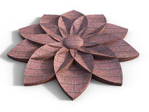 Abstract bricks flower. 3D rendered illustration of an flower composed of multiple bricks. The composition is  on a white background with shadows Stock Images