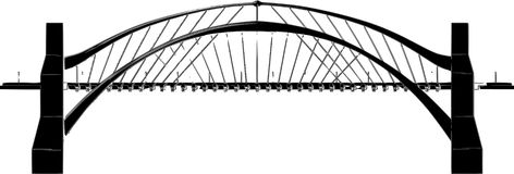 Abstract Bridge Illustration. Orthographic greyscale rendering of a bridge in a straight-on side view Royalty Free Stock Photo
