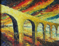 Abstract bridge at sunset, reflection in water, oil painting Royalty Free Stock Photography