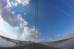 Abstract bridge. Suspension bridge over river Drava Stock Photography