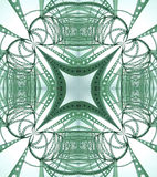 Abstract bridges. An abstract symmetric image of green metal from a bridge Stock Images