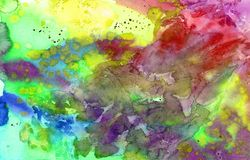 All rainbow colors abstract splashes watercolor background. Abstract bright artistic hand painted watercolor background yellow, blue, red, green Stock Image