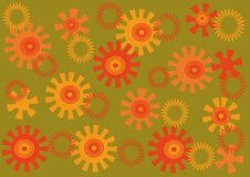 Abstract bright background. The red and orange abstract shapes on a green background Stock Image