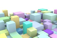 Abstract bright background with 3D cubes on a white background. Royalty Free Stock Photo