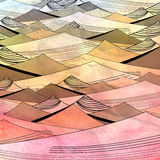 Abstract bright background with dunes. Bright colorful abstract background of dunes on watercolor background Royalty Free Stock Image